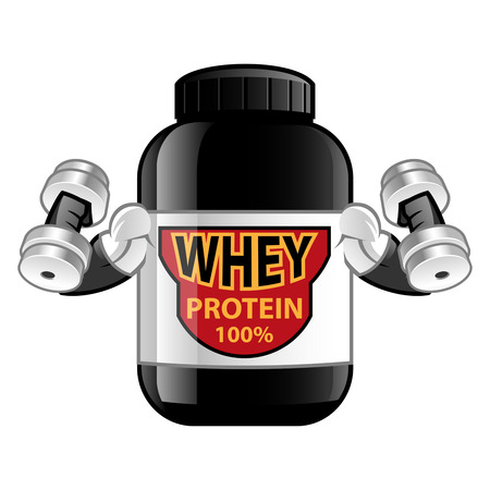 proteins: Jar of whey protein isolated on white background. Sports nutrition.