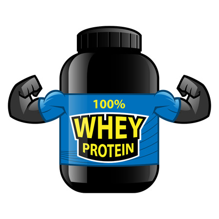 gainer: Jar of whey protein isolated on white background. Sports nutrition.