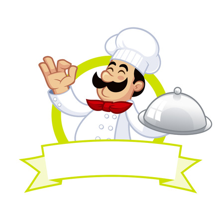 carries: Nice illustration of a cook, he carries a tray