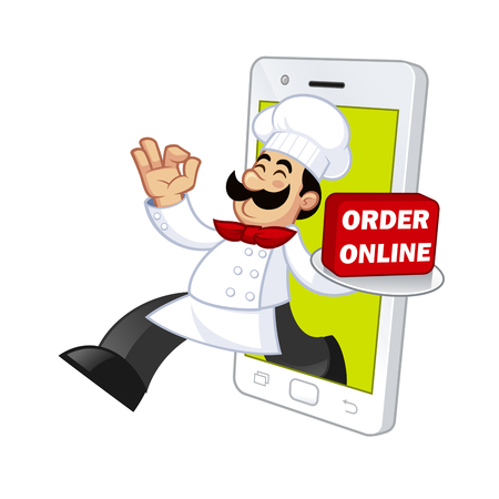 cook out: Nice illustration of a cook, he gets out of a smartphone