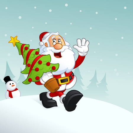 Funny illustration of Santa Claus,  is carrying a Christmas tree