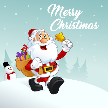 gift season: Funny illustration of Santa Claus,  Carries a sack with presents Illustration