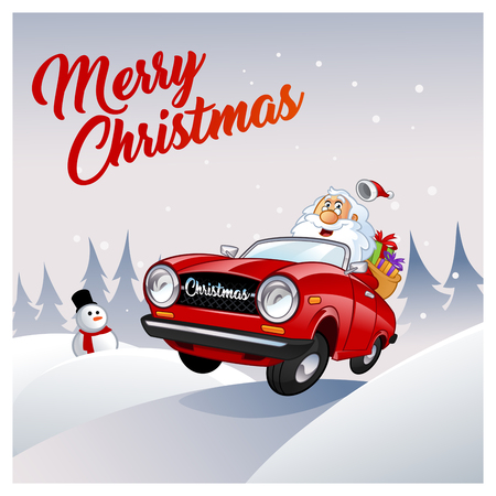 Funny Santa Claus, I is driving a red car
