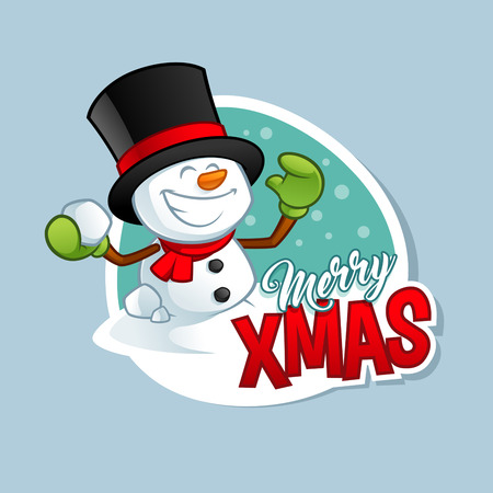Christmas greeting card, with a funny snowman