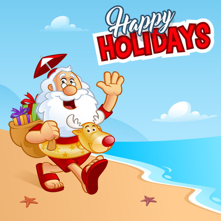 vacation summer: Sympathetic Santa Claus walking on a beach