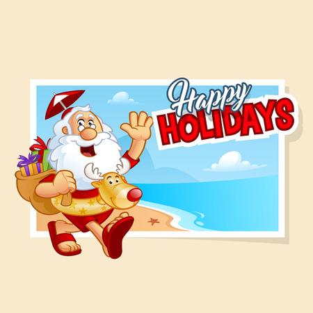 Simpático Santa Claus caminando en una playa