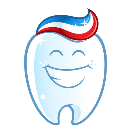 white smile: Sympathetic tooth with a big smile, on white background