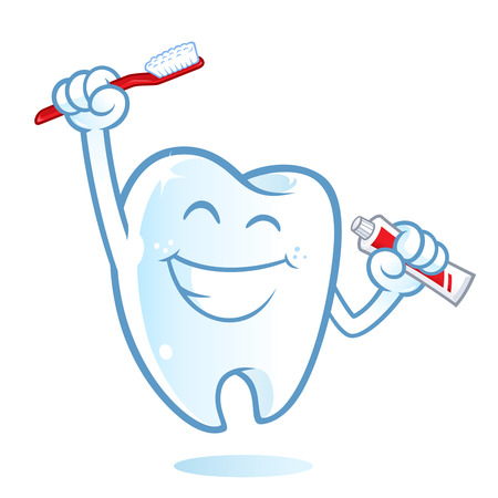 tooth: Sympathetic tooth with a big smile, I have a toothbrush Illustration