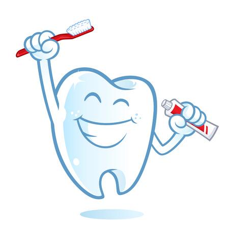 Sympathische Zahn mit einem großen Lächeln, habe ich eine Zahnbürste Vektorgrafik