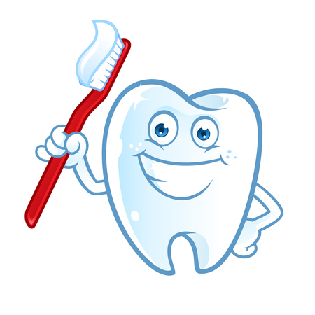 Sympathetic tooth with a big smile, I have a toothbrush Illustration