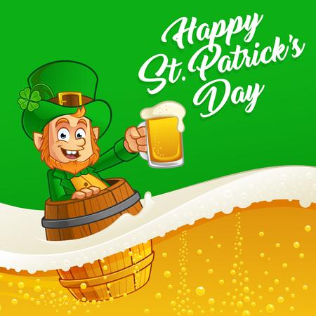 cartoon shamrock: Leprechaun, vector illustration of St. Patricks Day