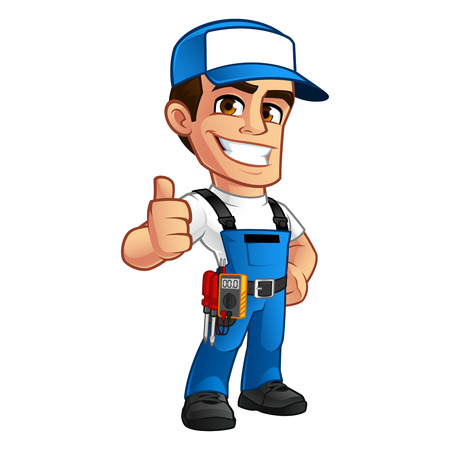 Vector illustration of an electrician, he wears work clothes
