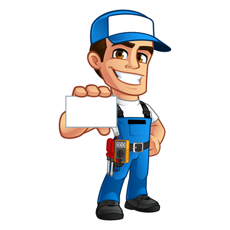 Electrician, he has a business card in his hand Vectores