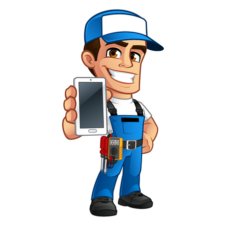 Electrician, he has a smartphone in his hand  イラスト・ベクター素材