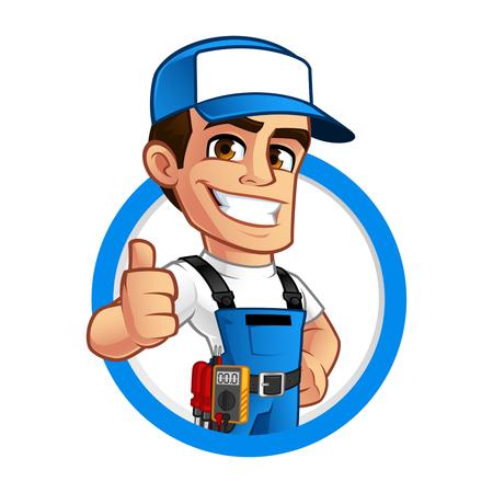 Vector illustratie van een elektricien, hij draagt werkkleding