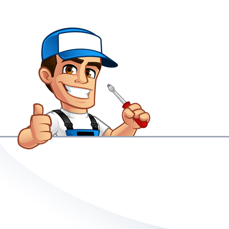 Electrician, he has a screwdriver in his hand
