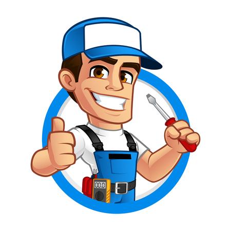 Elektricien, hij heeft een schroevendraaier in zijn hand
