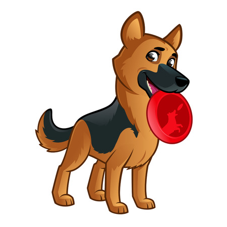 Friendly dog of the German Shepherd breed. Illustration