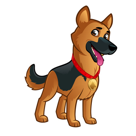 Friendly dog of the German Shepherd breed.  イラスト・ベクター素材