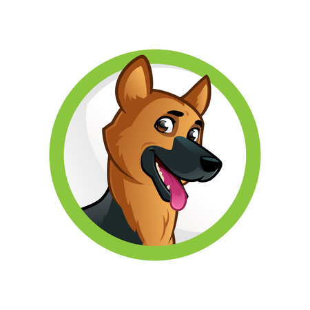 cute animal: Friendly dog of the German Shepherd breed. Illustration