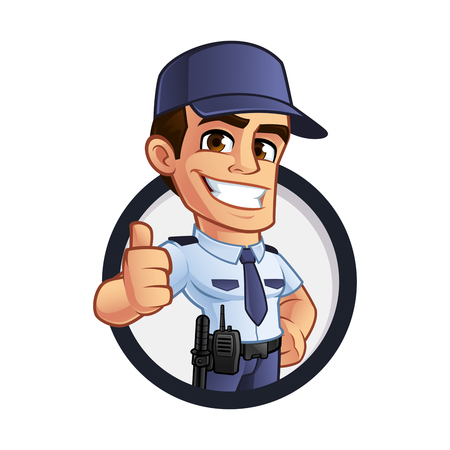 いい警備員、彼は制服に身を包んだ  イラスト・ベクター素材