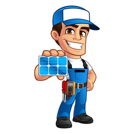 太陽電池パネルのインストーラーでフレンドリーな技術者、彼身に着けているツール ベルト