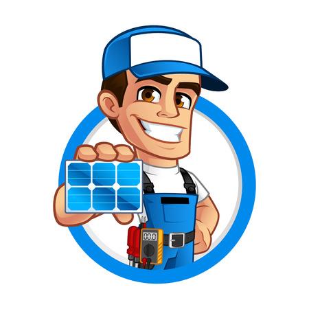 Przyjazny instalator techniczny paneli słonecznych, nosi pas z narzędziami