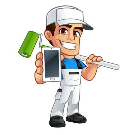 Vector illustratie van een professionele schilder, hij heeft een mobiele telefoon in zijn hand