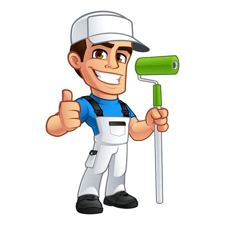 Illustration vectorielle d'un peintre professionnel, il est vêtu de vêtements de travail Banque d'images - 76371925
