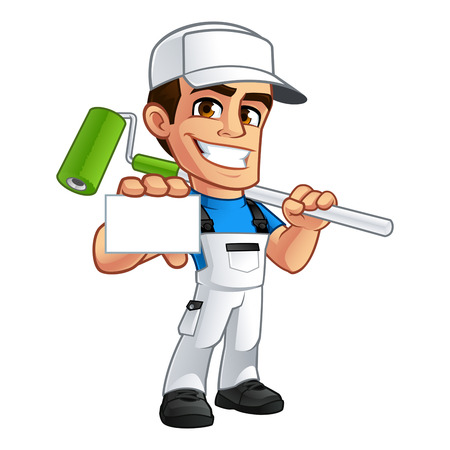 house painter: Vector illustration of a professional painter, he has a business card in his hand