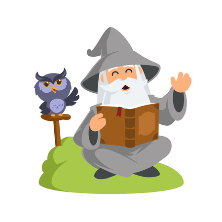 Friendly wizard, he is reading a book.
