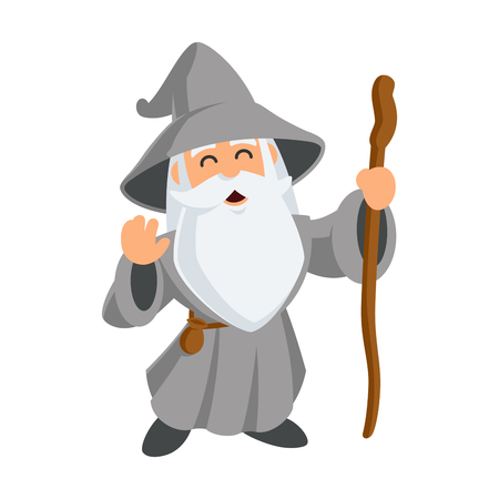 Wizard wearing a hat and a long beard, vector illustration. Illustration