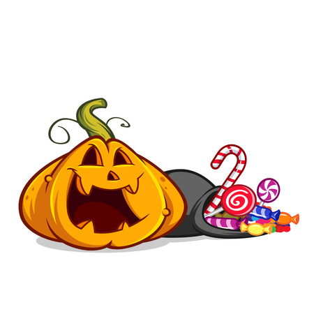 Funny pumpkin, she has a bag with candies