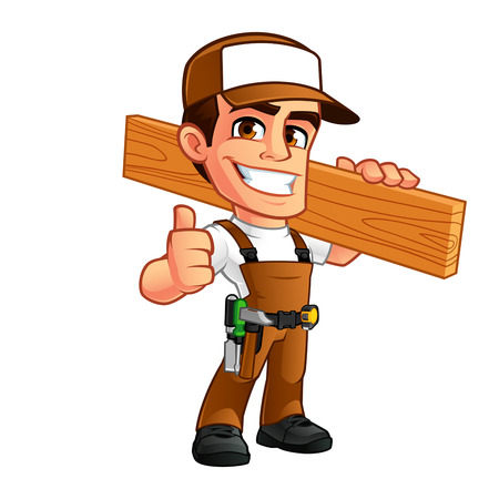 Friendly carpenter, he is dressed in work clothes 免版税图像 - 78257019