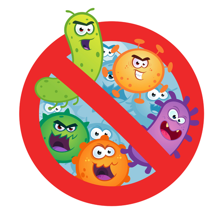Antibacterial sign with germ, bacteria, virus.