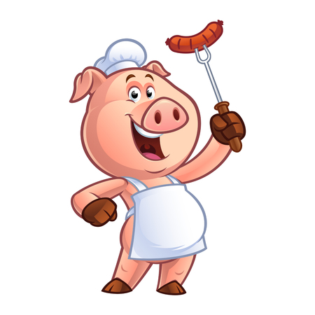 Pig chef holding a sausage on fork isolated on white background, vector illustration.