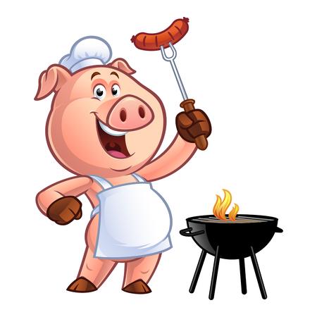 Varkensvlees die een worst op vork houdt Stock Illustratie