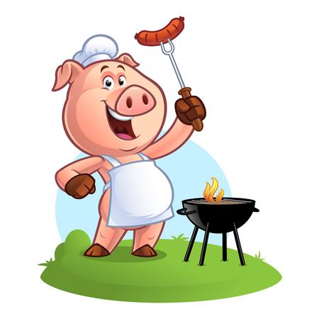Chef de cerdo sosteniendo una salchicha en un tenedor Foto de archivo - 84490599