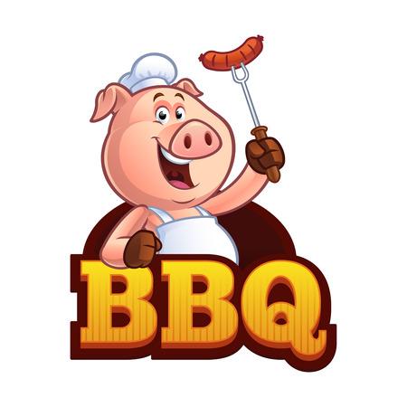 Chef de cerdo sosteniendo una salchicha en un tenedor Foto de archivo - 84469220