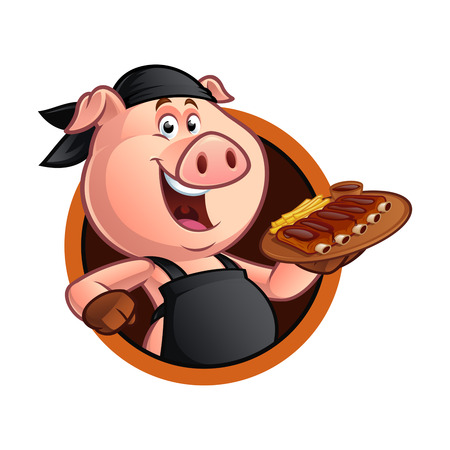 Cerdo, cocinero, llevando, bandeja, barbacoa, costilla Foto de archivo - 84490340