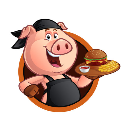 Pig chef carrying a tray with a barbecue burger Vectores