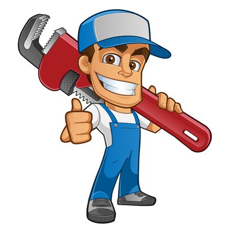 フレンドリーな配管工、彼は服を着ている作業服でツールを運ぶ  イラスト・ベクター素材