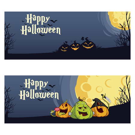 two: Vector illustration of two banner to celebrate Halloween