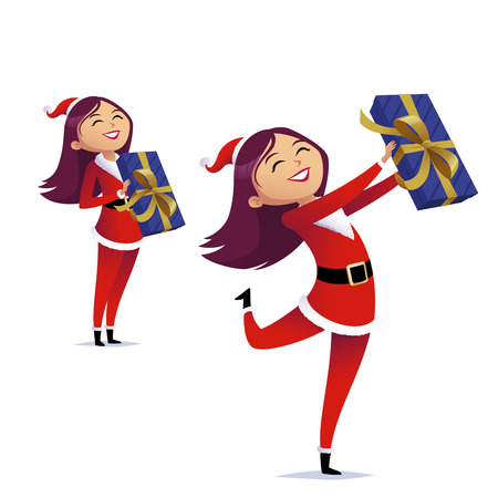 Christmas illustration of a woman wearing santa claus clothes Ilustração