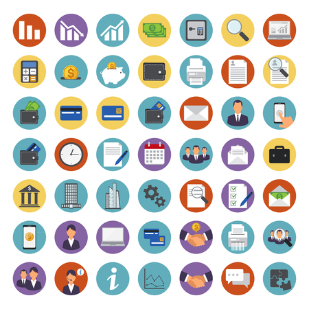 Set of different business icons in glossy round buttons. Illustration