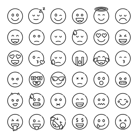 Set of cute smiley emoticons, outline design, vector illustration 矢量图像