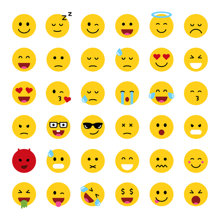 Set of cute smiley emoticons, flat design, vector illustration 矢量图像
