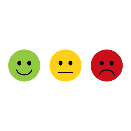Smiley emoticons icon positive, neutral and negative, flat design