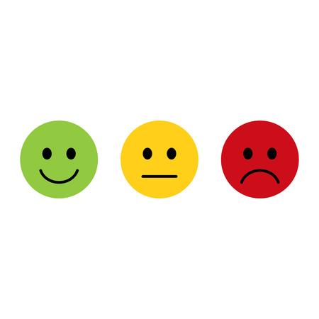 Emoticon smiley icona positiva, neutra e negativa, design piatto Vettoriali