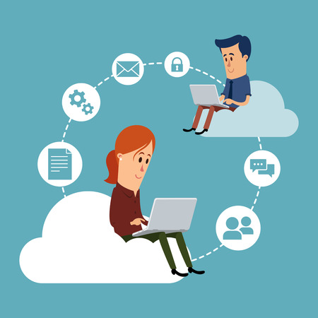 Woman and man working with their laptops, cloud computing concept 矢量图像